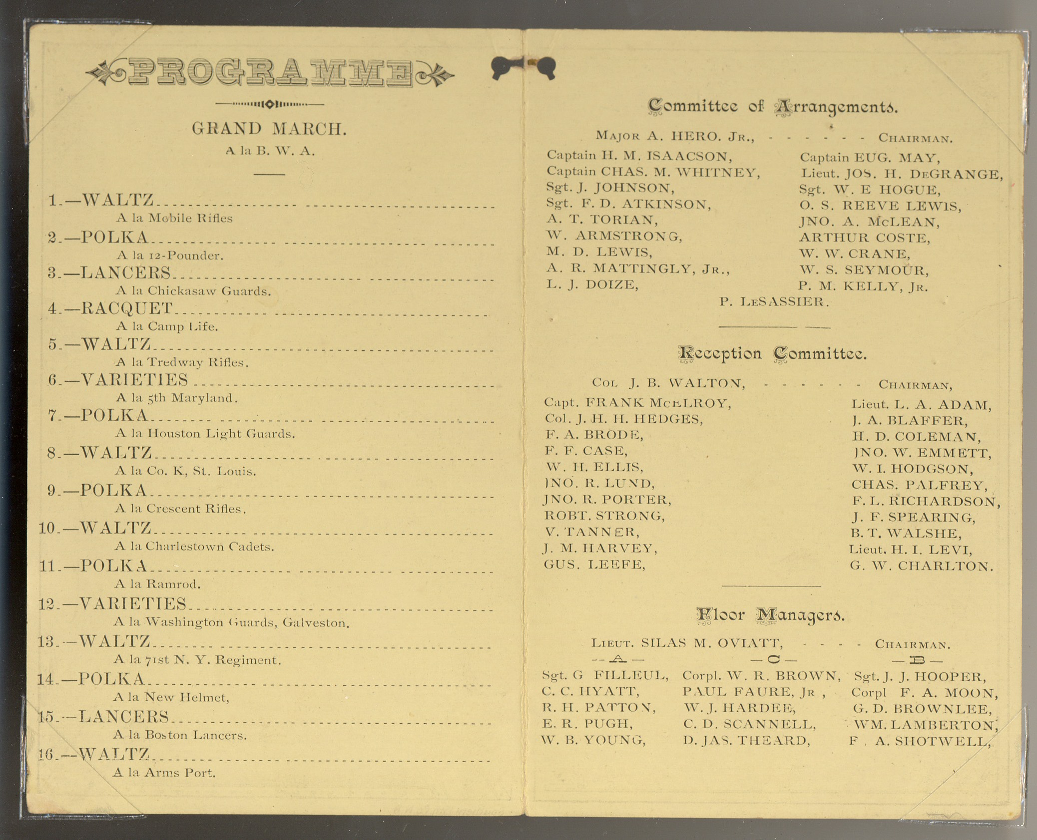Invitations programs of the washington artillery washington artillery reception dress parade stopboris Images